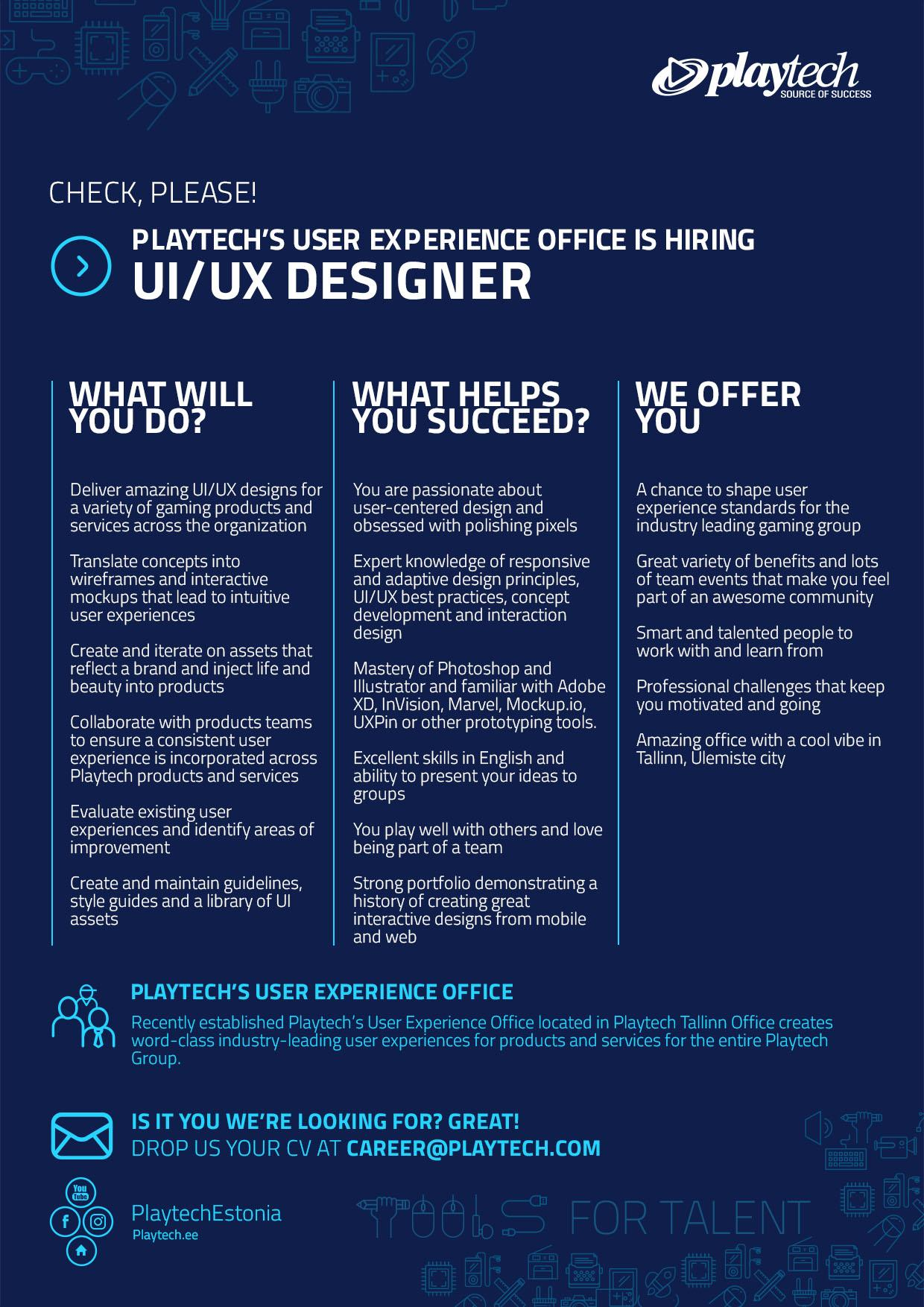 Playtech UIUX Designer – Ux Designer Job Description